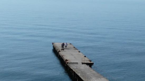 Крым. Отель Атлантик. Вид с террасы на море и причал